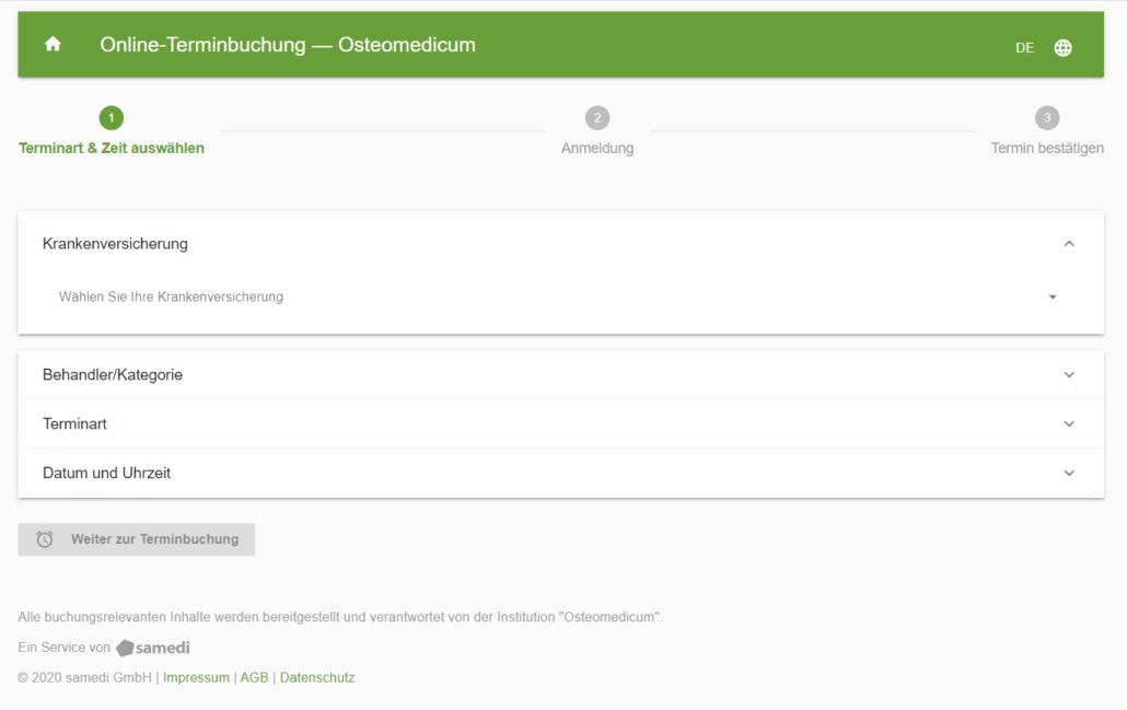 Online Terminbuchung via Web App fürs Osteomedicum